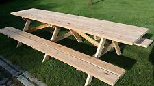 Sitzgruppe für 8 Pers. Bank mit Tisch aus rustikalem Lärchenholz 35mm Holzstärke