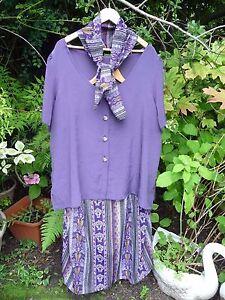 Purple Mustard Blue Black Skirt Suit Tunic Top Blouse + Scarf - Size 24 26 (28)