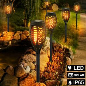 4X Solarleuchte 12LED Garten Beleuchtung Solar Licht Lampe Fackel Leuchte Flamme