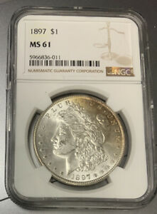 1897 $1 Morgan Silver Dollar - NGC MS61