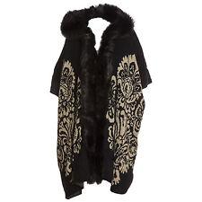 Plus Size Lana Wool Abstract  Black & Beige Fur Trim Hooded Waistcoat/Wrap/Coat