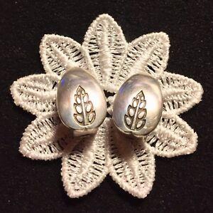 GEORG JENSEN Vtg Pair St Silver Floral Clip EARRINGS #113 by Gundorph ALBERTUS