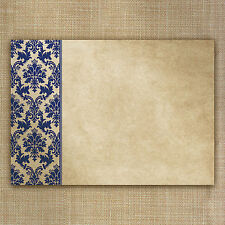 Blank party invitations, wedding invites - blue damask - pk of 20 Free envs