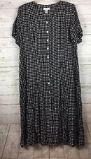 Anna Maxwell Plus Size Womens 28W 4X Button Front Short Sleeve Floral Midi Dress