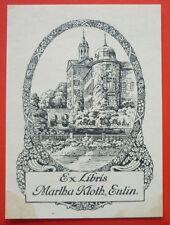 """Exlibris, Bookplate """"Martha Kloth, Eutin"""" Landschaft, Jugendstil, Schloss"""