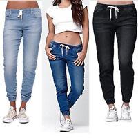 Women's Casual Denim Jogger Long Pants Ladies Drawstring Elastic Waist Jeans