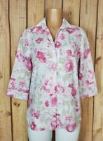 KIM ROGERS Womens Size 8 3/4 Sleeve Shirt Button Down Floral Cotton/Poly Top