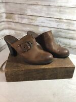 BOC Born Concept Brown Leather Heel Mule Clog Shoes US 9 /40 Distressed Buckle