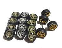 1:64 scale rubber tires 4sp 5sp 6sp 10sp rims fit Hot Wheels - 4 sets - R241