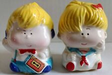 Vtg 80s Boy Girl Ceramic Figurine Set Cassette Tape Player Headphone Sailor Suit