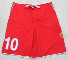 """Manchester United Athletic Shorts Red White Men's Polyester Large 34"""" x 8.5"""" Man"""