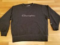 VTG Champion Men's Grey Spell Out Reverse Weave Crew Neck Sweater Size XXL 2XL