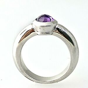 TIFFANY & Co Faceted Amethyst Solid 18K White Gold Solitaire France Genuine Sz 5