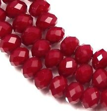 6x4mm Faceted ruby glass Quartz Rondelle Beads (45)