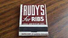 Unused Rudy's For Ribs Restaurant Matchbook Long Beach California