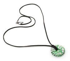 Zest Patterned Glass Pendant on Cord Green Length 98cm