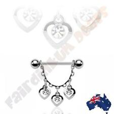 316 Surgical Steel Nipple Bar with 3 Clear Cubic Zirconia Gem Hearts Dangle