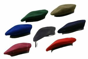 Army Beret British Combat Military Style Cadet Uniform Wool Hat Cap Leather Band