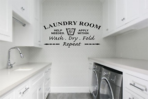 Laundry Room Quote Words Service Required Decor Home Wall Decal Sticker Q72