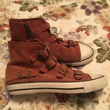 Ash Virgin Camel Suede Leather Buckle Sneaker Women Size 37 US SIZE 7 NEVER WORN