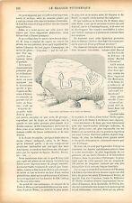Incursion de Marins Phéniciens Table de Pierre en Guyane GRAVURE OLD PRINT 1906