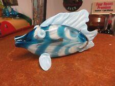 Beautiful Artist Signed Art Glass Hand Blown Blue Fish Murano ??
