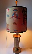 Vintage Toy Soldiers Napoleon Brass Kids Table Lamp with Shade Working ~ UNIQUE!
