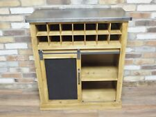 Industrial Reclaimed Wood Tall Wine Cabinet - Metal Top - Home Bar - Kitchen