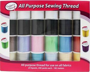 Allary Designers Choice All Purpose Sewing Thread 24pc Assorted Colors Polyester