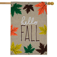 "Hello Fall Leaves Burlap House Flag Autumn 28"" x 40"" Briarwood Lane"