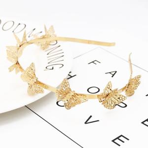 New Retro Gold Hairband Ladies Girls Elegant Plated Butterfly Headband Hair Band