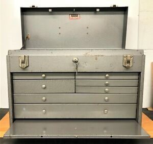 Vintage Kennedy Kits No 520 7 Drawer Machinist Chest in Silver Finish w/ 2 Keys