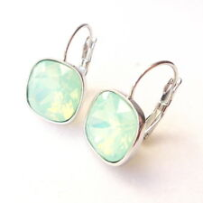 Mint Crystal Drop Earrings w/ Cushion Cut Swarovski Rhinestone Pastel Green Prom