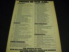 Dan Fogelberg Ted Nugent Kansas Johnny Winter tours Rare 1976 Promo Poster Ad