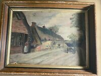 "Antique ""Village Homes And Street Landscape Scene"" Oil Painting - Framed"