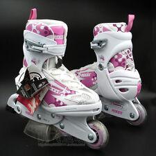 Roces Flash 5.0 Girls/Kids Inline Roller Skates Adjustable Pink/White US J13-3