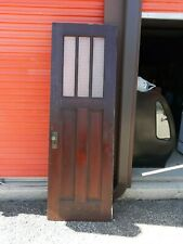 Interior Antique Wood Door 3 Panes Privacy Glass 28 X 82 Can Ship!