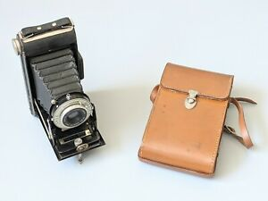 Vintage Kodak Six-20 Folding Brownie Camera With Leather Case Untested