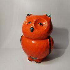 Trentham Art Ware pottery OWL orange money box