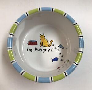 """Signature Room Creative """"I'm Hungry!"""" Run Kitty Run Cat Food Dish Pet Bowl"""