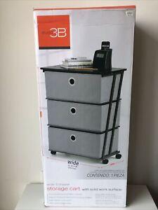 Studio 3b Wide 3 Drawer Storage Cart | Built In Wheels