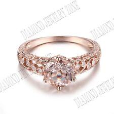 Diamonds Filigree Vintage Engagement Ring Sterling Silver 1.62Ct Morganite Real