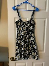 Almost Famous Pull Over Skater Dress Black With Sun Flowers Juniors Size M