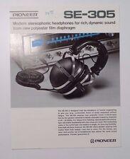 1972 Pioneer SE-305 Stereo Headphones Color Brochure Sales Sheet