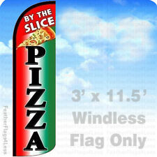 PIZZA BY THE SLICE - Windless Swooper Feather Flag 3x11.5' Banner Sign - q