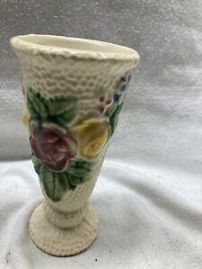 Vintage Roseville Rozane Floral Art Dimpled Pottery Vase