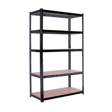 5 TIER HEAVY DUTY BOLTLESS METAL SHELVING SHELVES STORAGE UNIT GARAGE HOME BLACK
