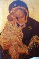 Icône russe reproduction sur vieux bois Vierge et enfant .