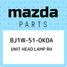 BJ1W-51-0K0A Mazda Unit head lamp rh BJ1W510K0A, New Genuine OEM Part