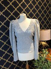 ZARA Silver Sequin V Neck Top SMALL Balloon Puff Sleeves Diamanté Buttons BNWT